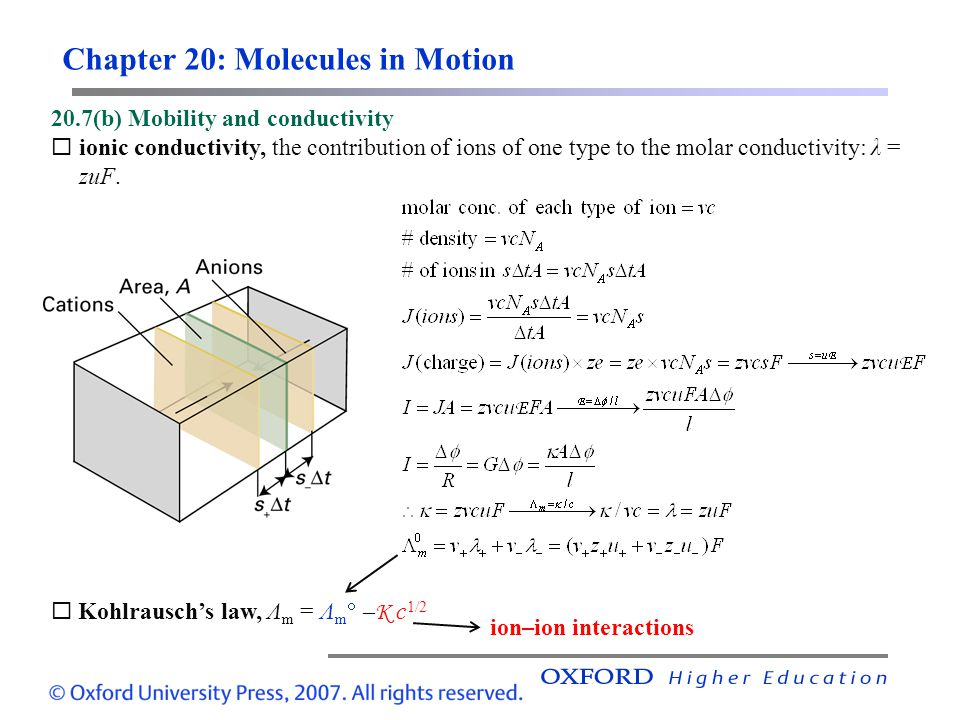 Chapter 20: Molecules in Motion 20.7(b) Mobility and conductivity  ionic conductivity, the contribution of ions of one type to the molar conductivity: λ = zuF.