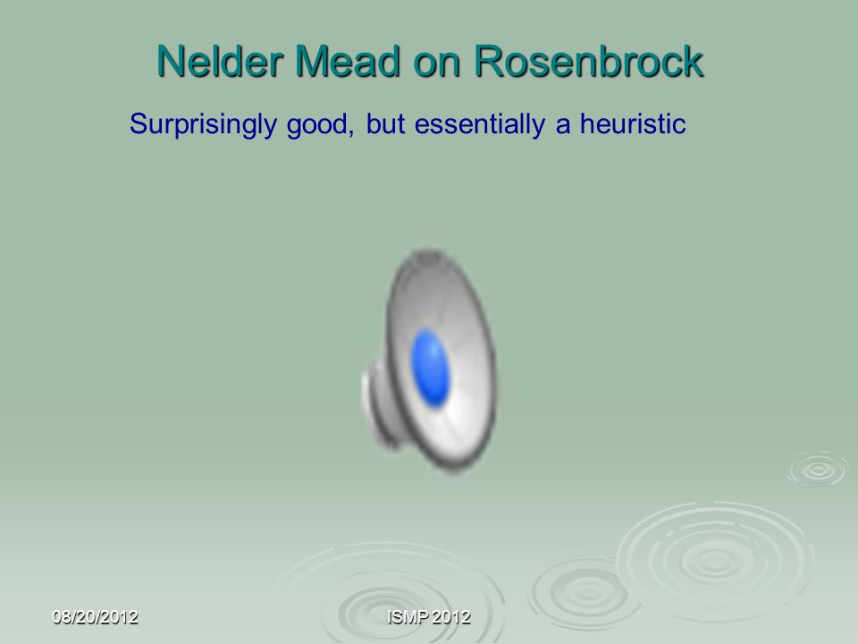 Nelder Mead on Rosenbrock 08/20/2012ISMP 2012 Surprisingly good, but essentially a heuristic