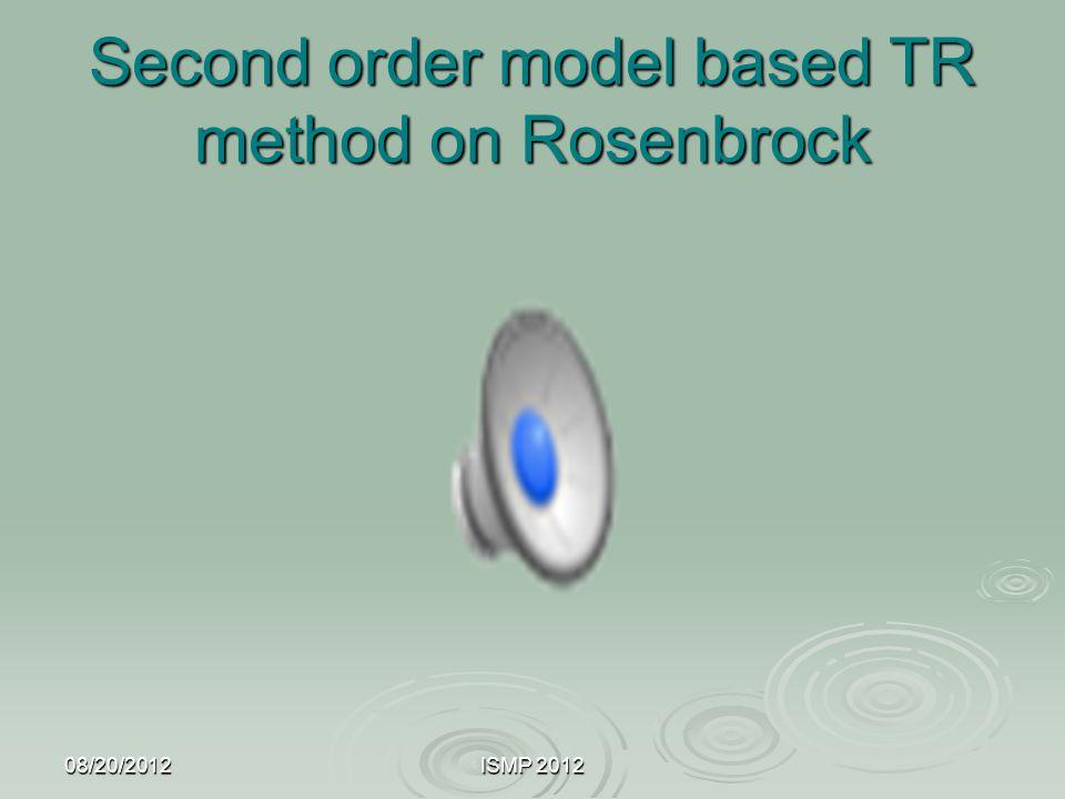 Second order model based TR method on Rosenbrock 08/20/2012ISMP 2012