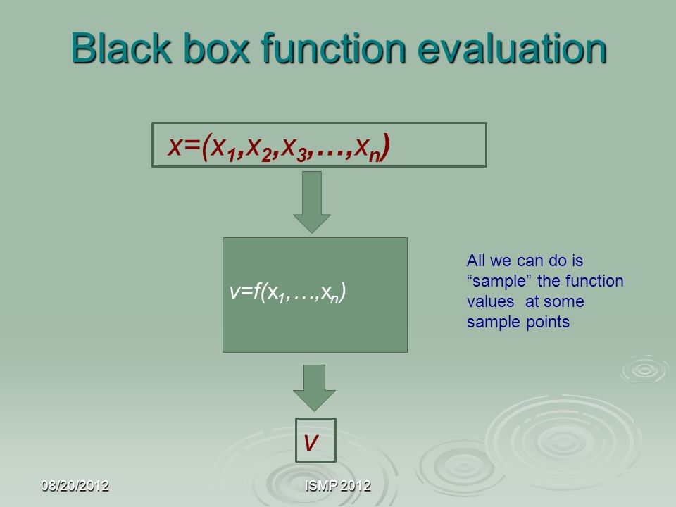"""Black box function evaluation 08/20/2012ISMP 2012 x=(x 1,x 2,x 3,…,x n ) v=f(x 1,…,x n ) v All we can do is """"sample"""" the function values at some sampl"""