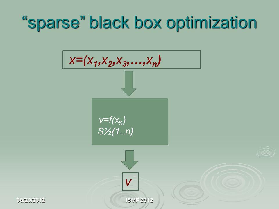 """sparse"" black box optimization 08/20/2012ISMP 2012 x=(x 1,x 2,x 3,…,x n ) v=f(x S ) S½{1..n} v"