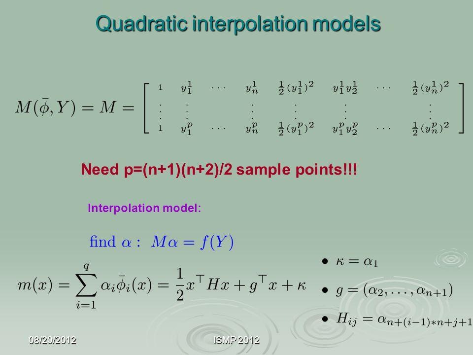 08/20/2012ISMP 2012 Quadratic interpolation models Quadratic interpolation models Interpolation model: Need p=(n+1)(n+2)/2 sample points!!!