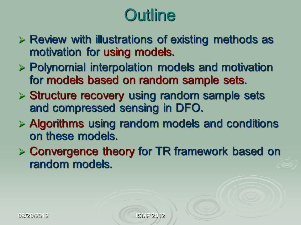 08/20/2012ISMP 2012 Model based trust region methods Powell, Conn, S. Toint, Vicente, Wild, etc.