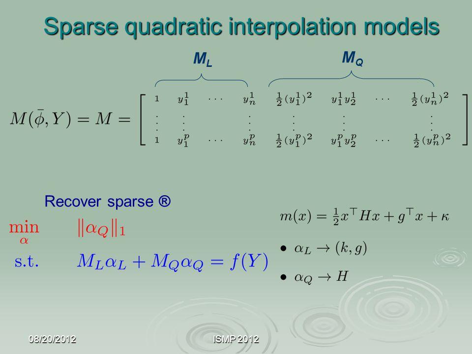 08/20/2012ISMP 2012 Sparse quadratic interpolation models Recover sparse ® MLML MQMQ