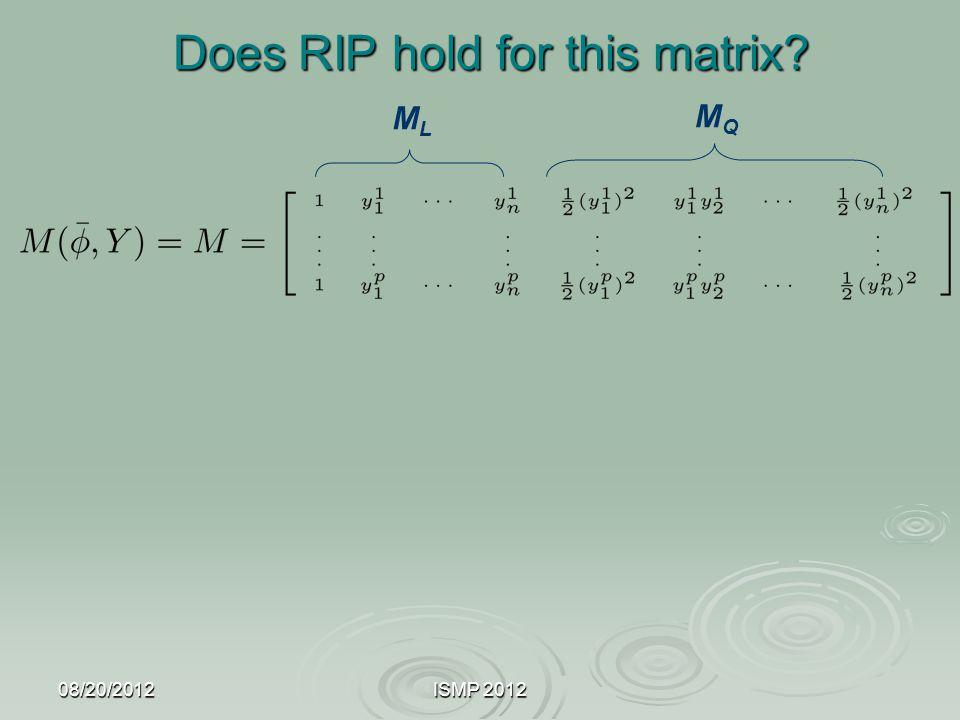 08/20/2012ISMP 2012 Does RIP hold for this matrix? MLML MQMQ