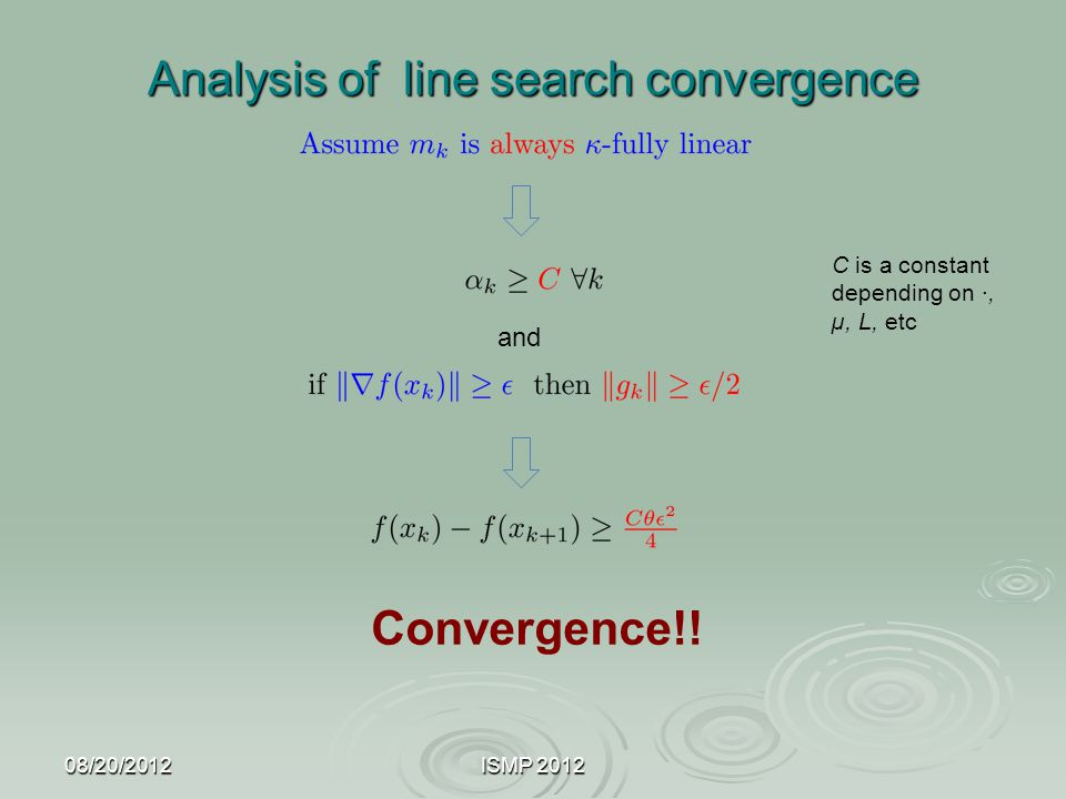 Analysis of line search convergence 08/20/2012ISMP 2012 Convergence!! and C is a constant depending on ·, µ, L, etc