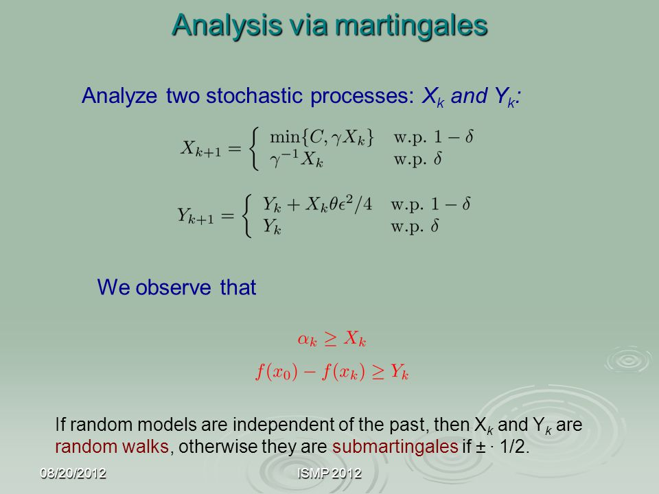 08/20/2012ISMP 2012 Analysis via martingales Analyze two stochastic processes: X k and Y k : We observe that If random models are independent of the p