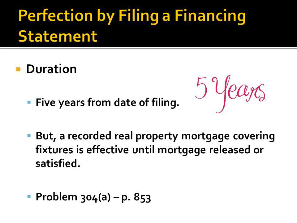  Duration  Five years from date of filing.