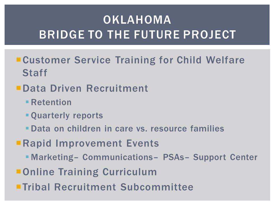  Customer Service Training for Child Welfare Staff  Data Driven Recruitment  Retention  Quarterly reports  Data on children in care vs.