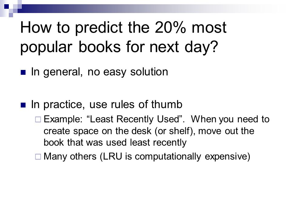How to predict the 20% most popular books for next day.