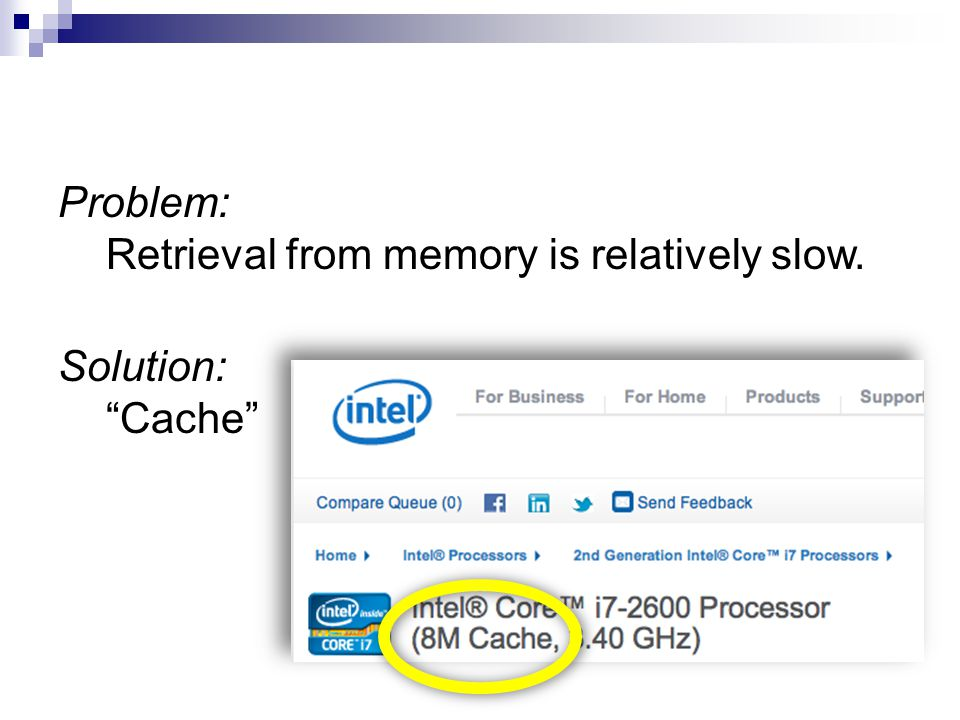 Problem: Retrieval from memory is relatively slow. Solution: Cache