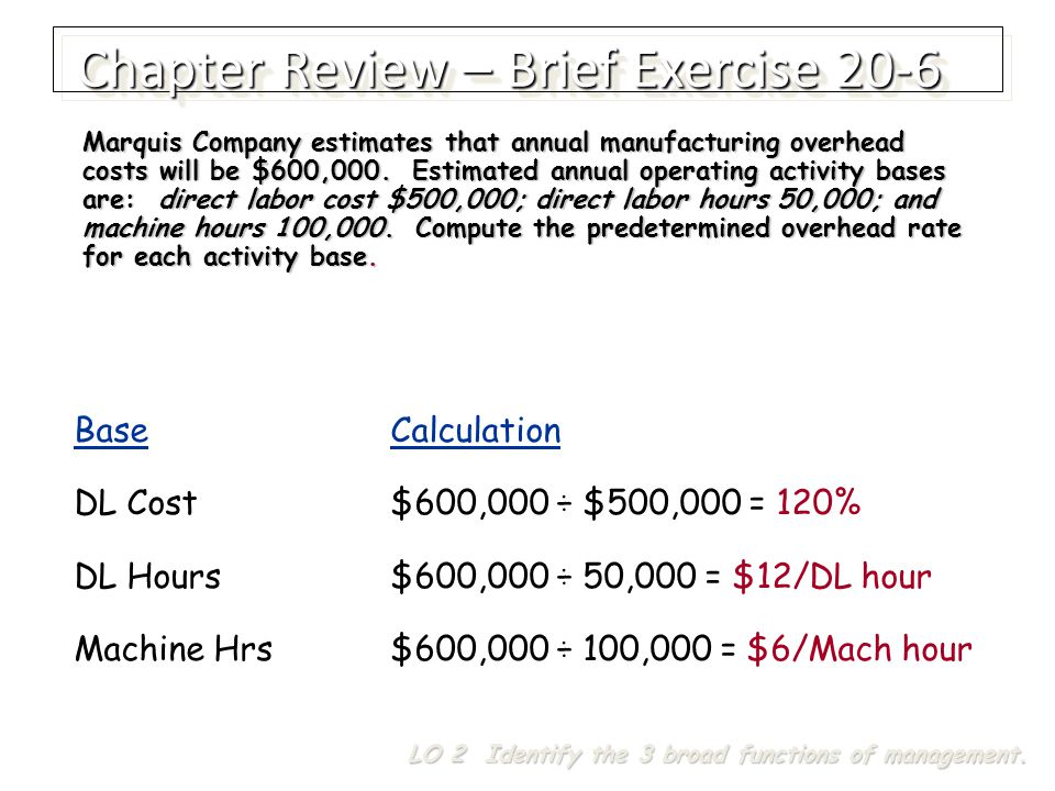 BaseCalculation DL Cost$600,000 ÷ $500,000 = 120% DL Hours$600,000 ÷ 50,000 = $12/DL hour Machine Hrs$600,000 ÷ 100,000 = $6/Mach hour Marquis Company estimates that annual manufacturing overhead costs will be $600,000.
