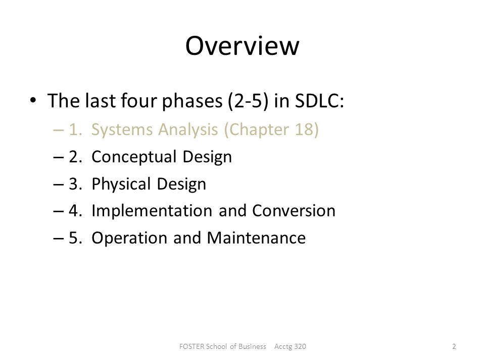 Overview The last four phases (2-5) in SDLC: – 1.Systems Analysis (Chapter 18) – 2.