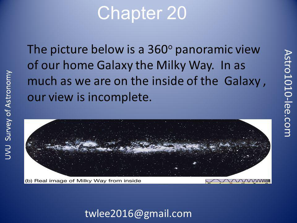 Chapter 20 Astro1010-lee.com twlee2016@gmail.com UVU Survey of Astronomy From Earth, see relatively few stars when looking out of galaxy (red arrows), many when looking into the disk (blue arrows) of the galaxy.