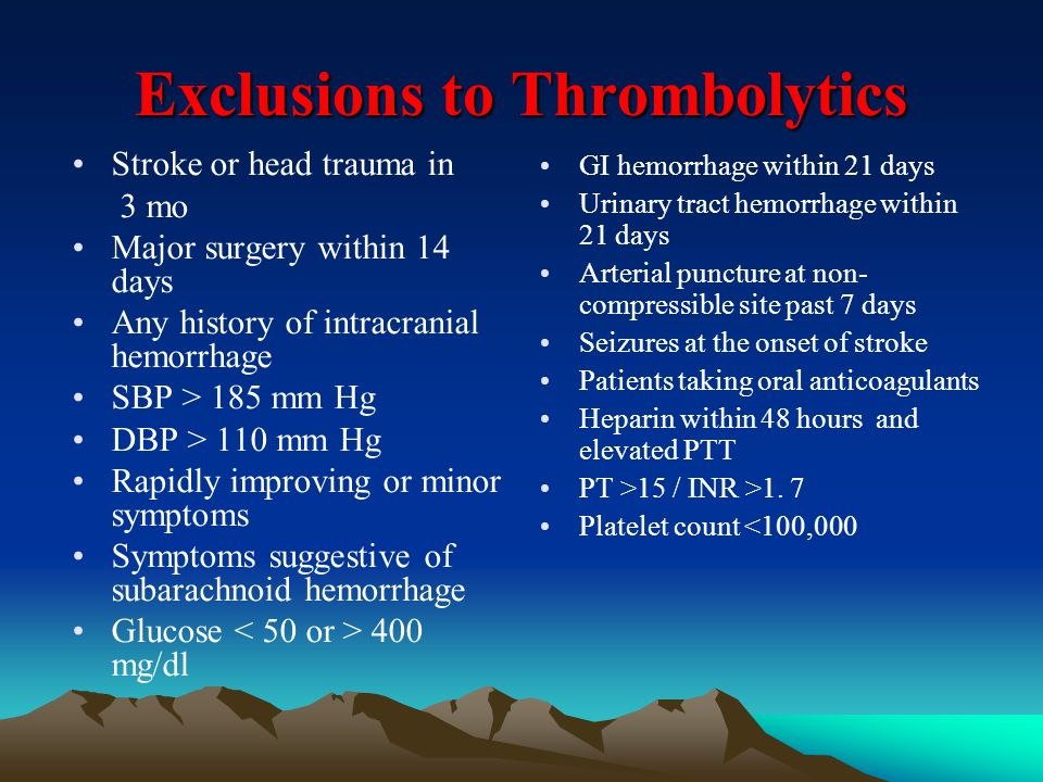 Exclusions to Thrombolytics Stroke or head trauma in 3 mo Major surgery within 14 days Any history of intracranial hemorrhage SBP > 185 mm Hg DBP > 11