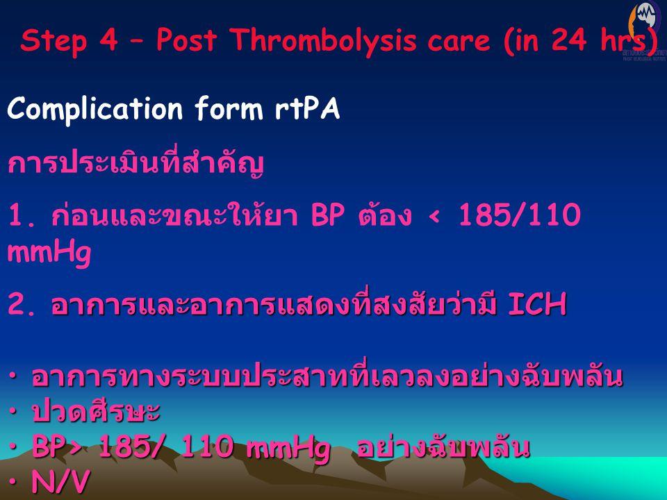 Step 4 – Post Thrombolysis care (in 24 hrs) Complication form rtPA การประเมินที่สำคัญ 1. ก่อนและขณะให้ยา BP ต้อง < 185/110 mmHg อาการและอาการแสดงที่สง
