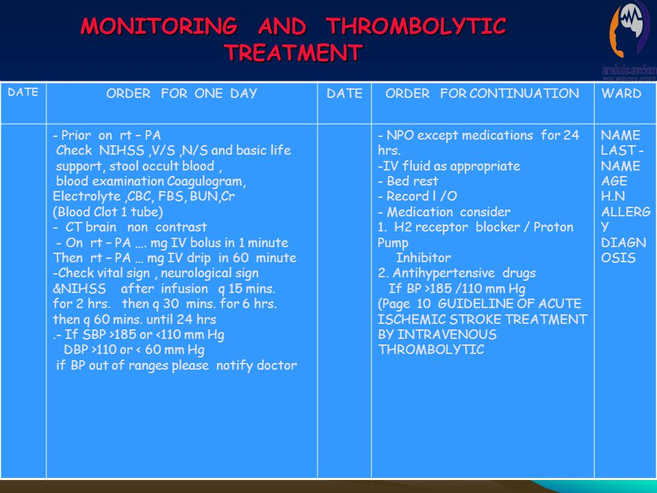 MONITORING AND THROMBOLYTIC TREATMENT DATE ORDER FOR ONE DAYDATEORDER FOR CONTINUATIONWARD - Prior on rt – PA Check NIHSS,V/S,N/S and basic life suppo
