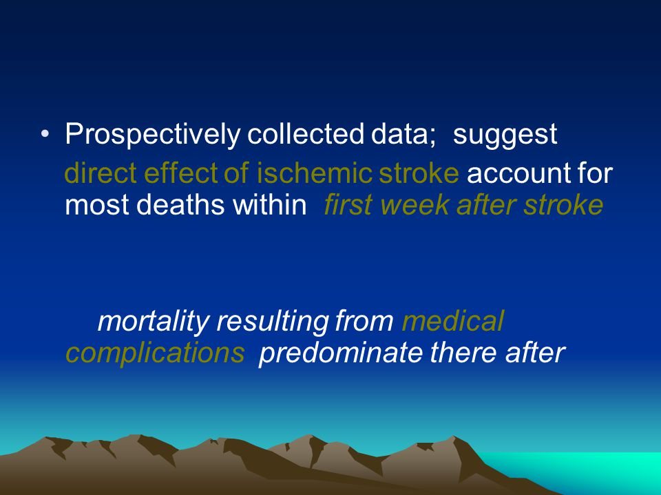 Prospectively collected data; suggest direct effect of ischemic stroke account for most deaths within first week after stroke mortality resulting from