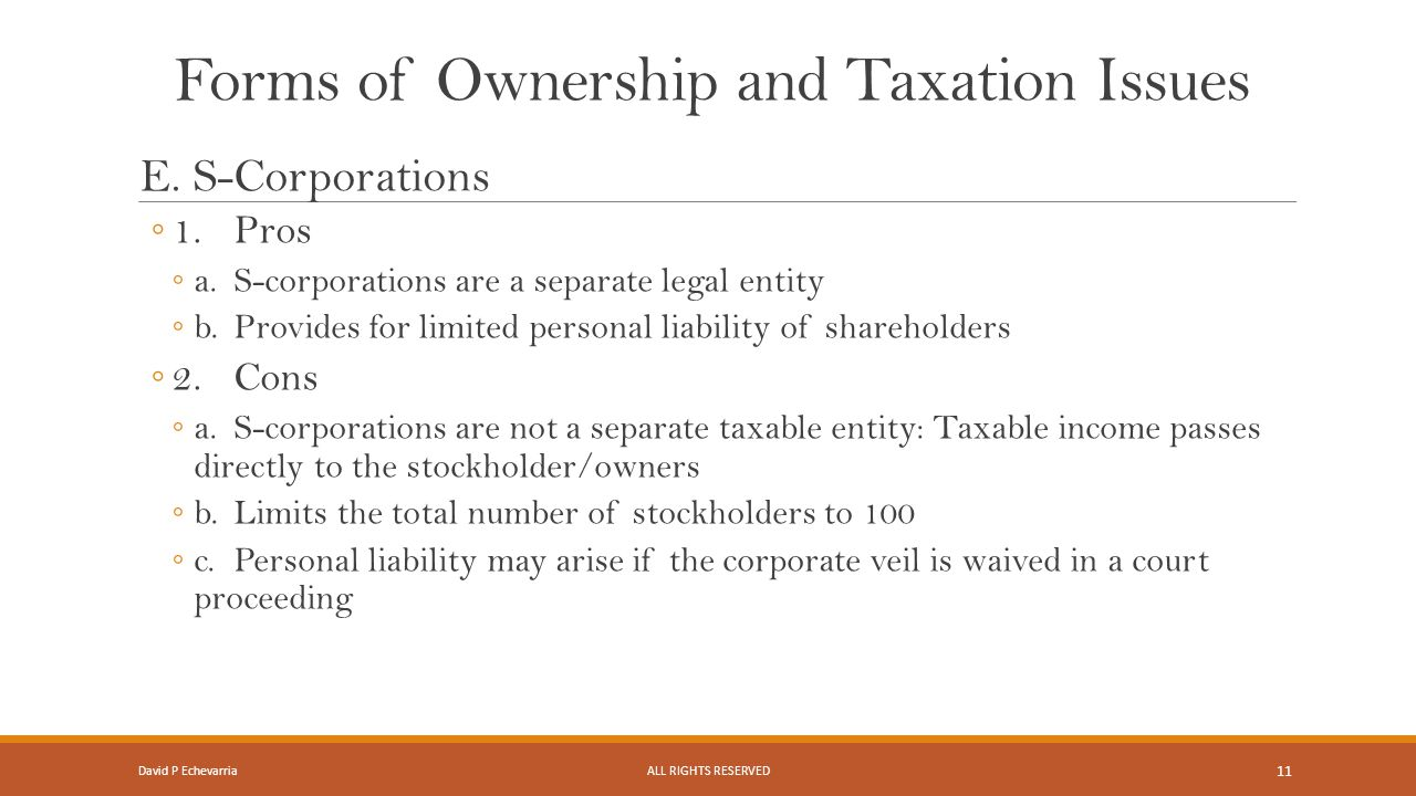 Forms of Ownership and Taxation Issues E.