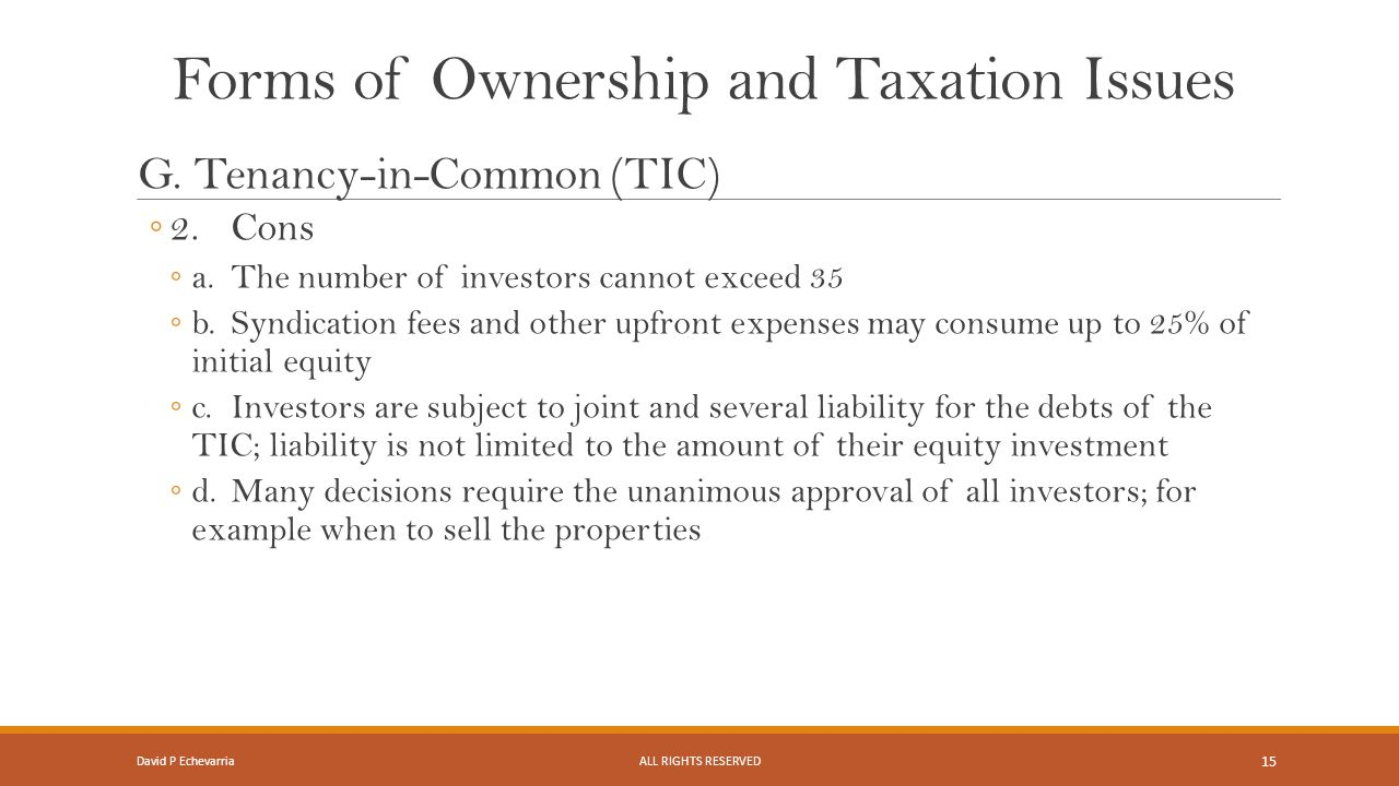 Forms of Ownership and Taxation Issues G.
