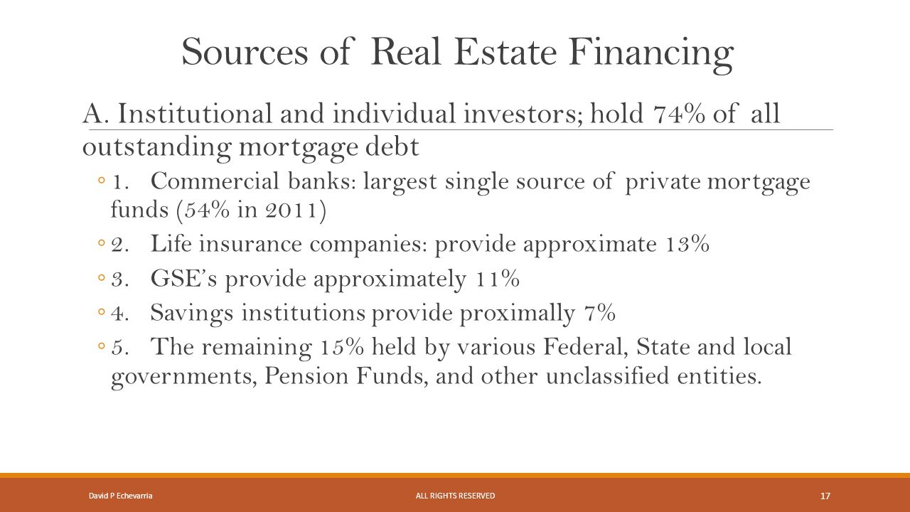Sources of Real Estate Financing A.