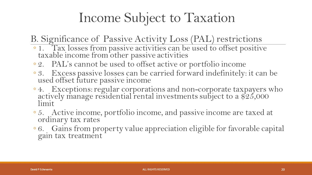Income Subject to Taxation B.