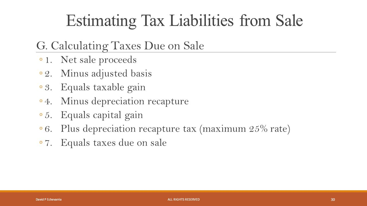 Estimating Tax Liabilities from Sale G.