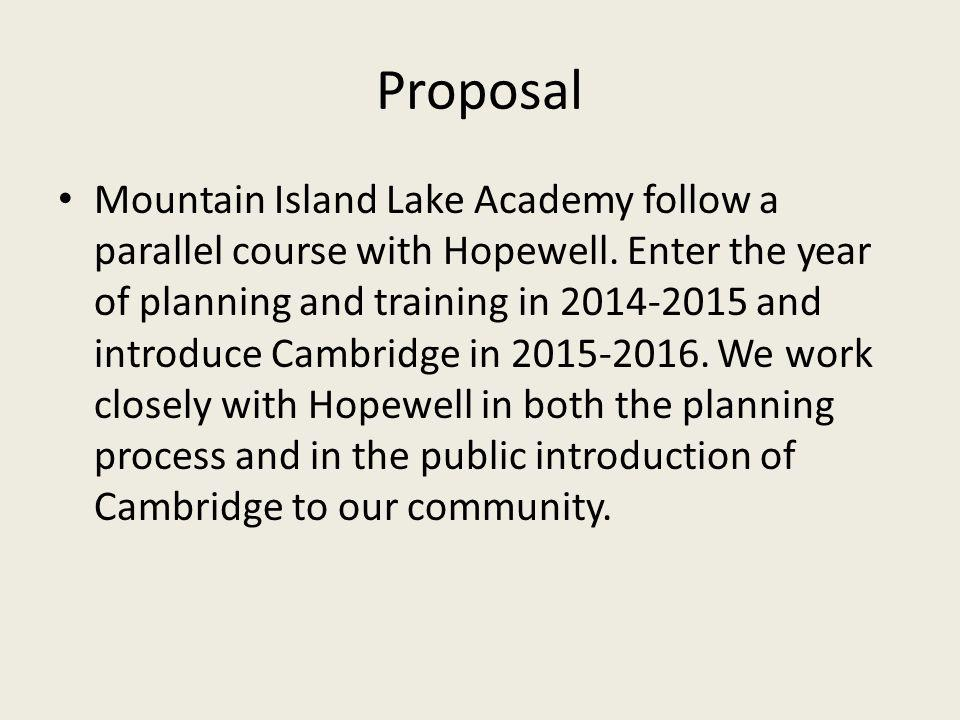 Proposal Mountain Island Lake Academy follow a parallel course with Hopewell.