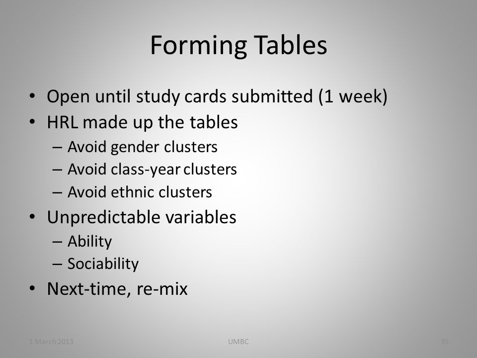 Forming Tables Open until study cards submitted (1 week) HRL made up the tables – Avoid gender clusters – Avoid class-year clusters – Avoid ethnic clusters Unpredictable variables – Ability – Sociability Next-time, re-mix 1 March 201335UMBC