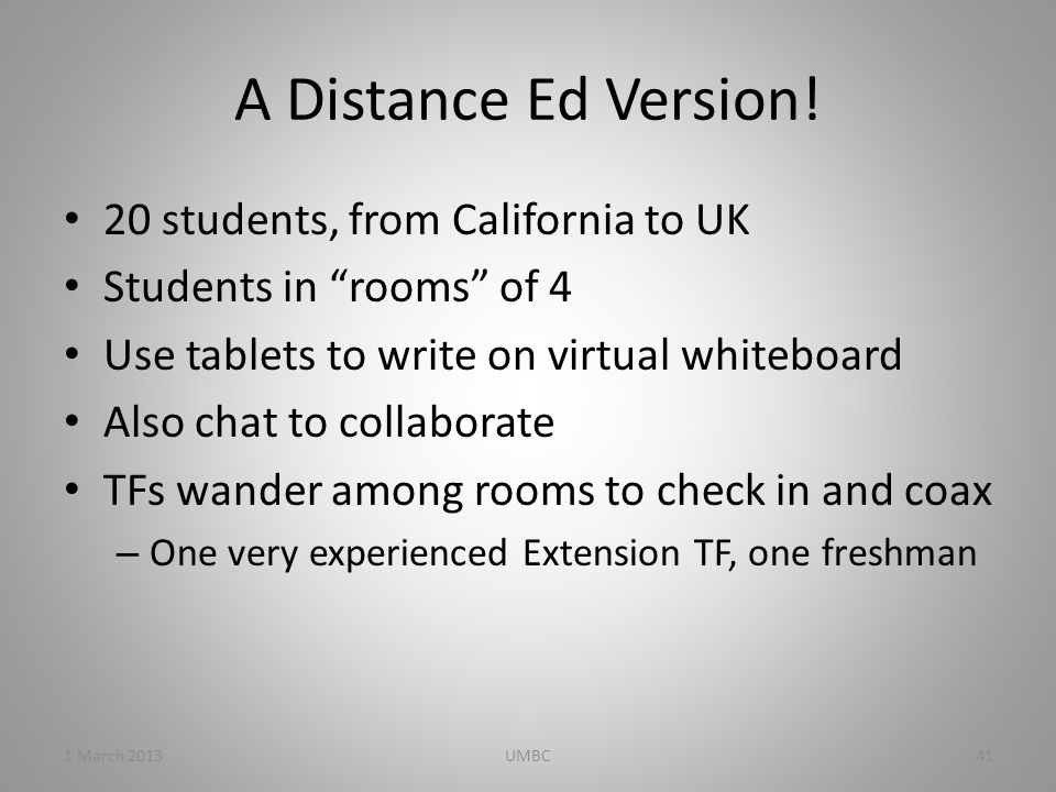A Distance Ed Version.