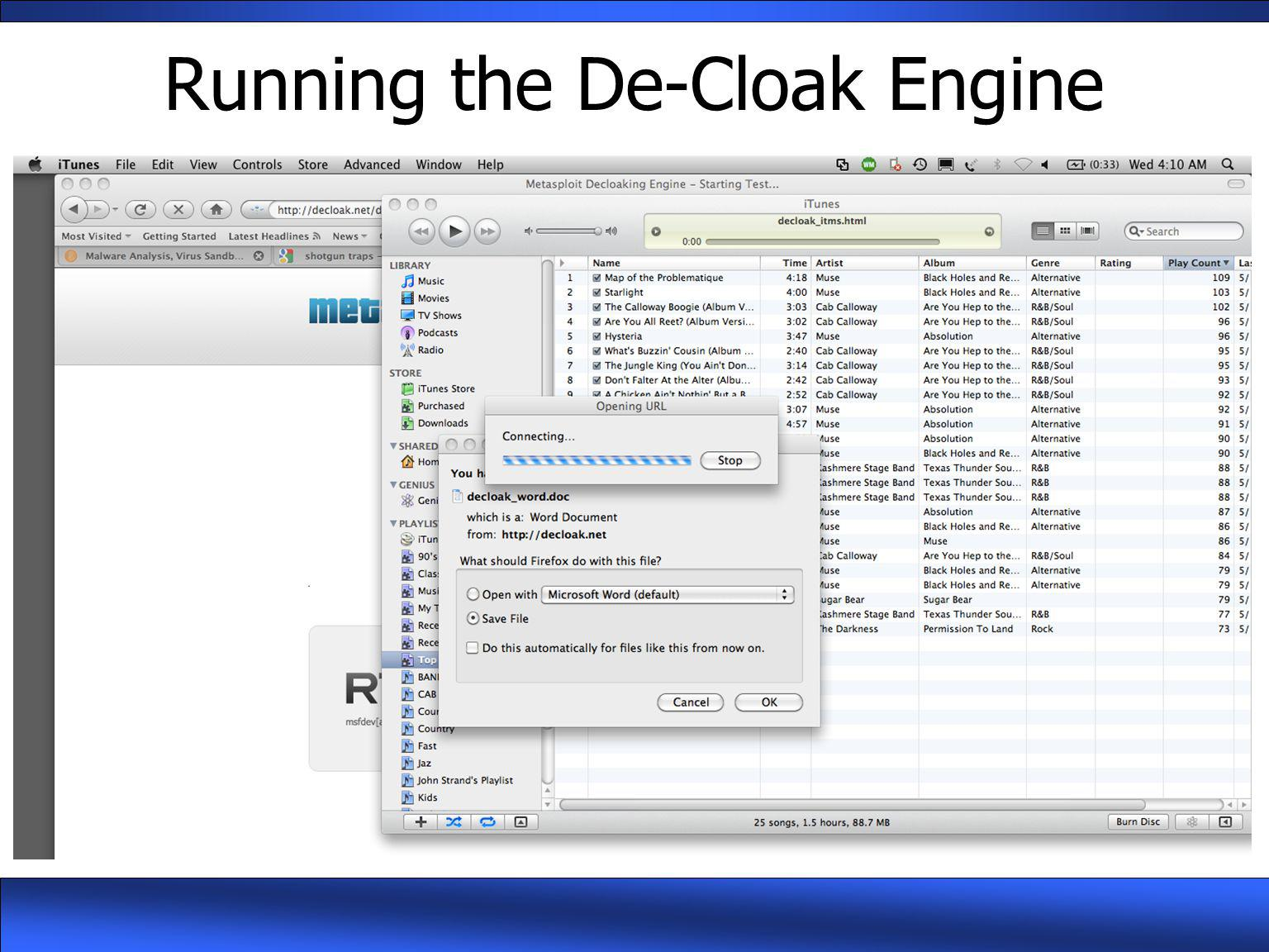 Running the De-Cloak Engine