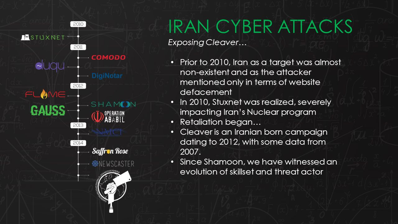 Prior to 2010, Iran as a target was almost non-existent and as the attacker mentioned only in terms of website defacement In 2010, Stuxnet was realized, severely impacting Iran's Nuclear program Retaliation began… Cleaver is an Iranian born campaign dating to 2012, with some data from 2007.