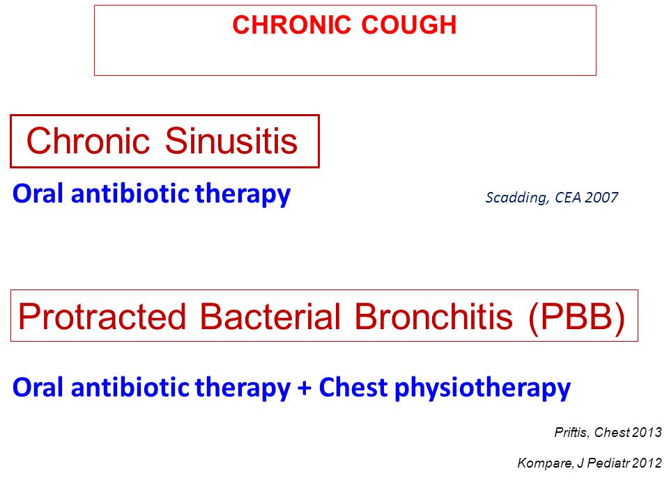 Chronic Sinusitis Oral antibiotic therapy Scadding, CEA 2007 Protracted Bacterial Bronchitis (PBB) Oral antibiotic therapy + Chest physiotherapy Prift