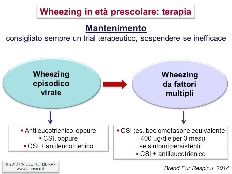 Wheezing episodico virale Wheezing da fattori multipli Mantenimento consigliato sempre un trial terapeutico, sospendere se inefficace  Antileucotrienico, oppure  CSI, oppure  CSI + antileucotrienico  Antileucotrienico, oppure  CSI, oppure  CSI + antileucotrienico  CSI (es.
