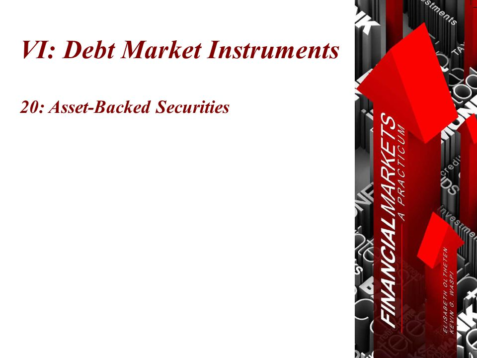 Chapter 20: Asset-Backed Securities Primary Market -> Secondary Market © Oltheten & Waspi 2012 Mortgages Secondary Market Investors $$$ Bank $$$ More Mortgages