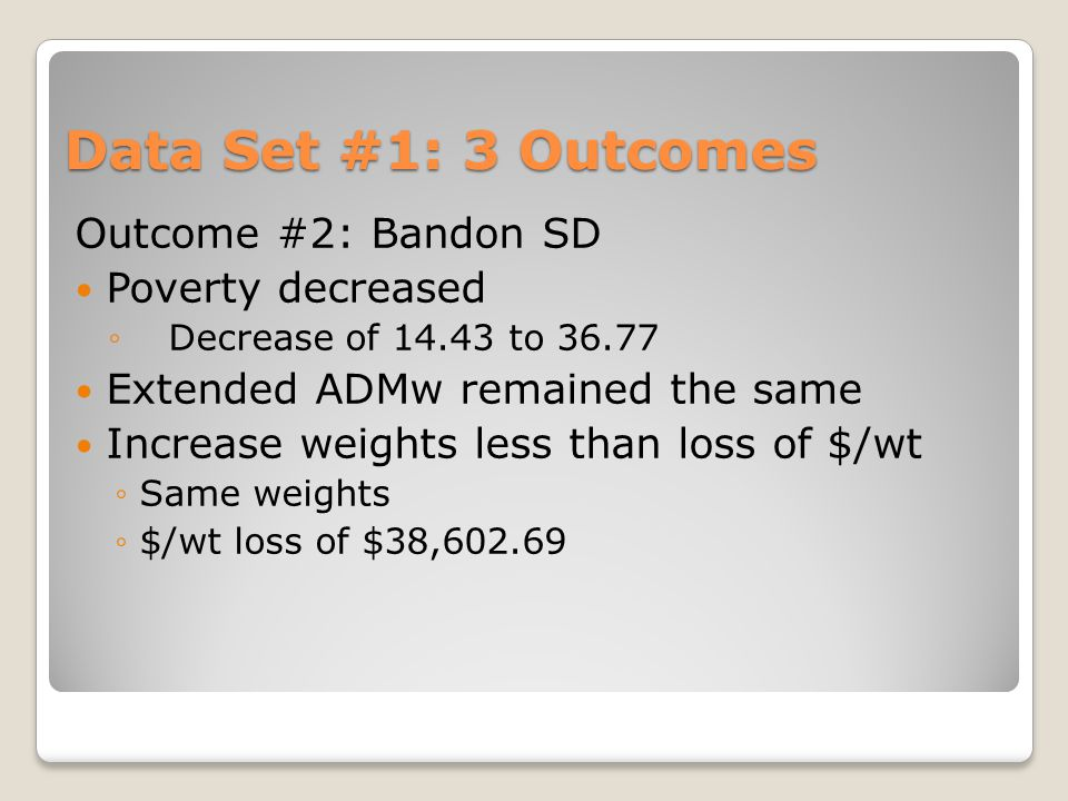 Data Set #1: 3 Outcomes Outcome #2: Bandon SD Poverty decreased ◦Decrease of 14.43 to 36.77 Extended ADMw remained the same Increase weights less than loss of $/wt ◦Same weights ◦$/wt loss of $38,602.69
