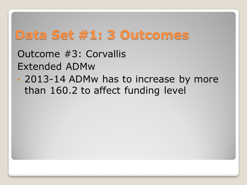 Data Set #1: 3 Outcomes Outcome #3: Corvallis Extended ADMw 2013-14 ADMw has to increase by more than 160.2 to affect funding level