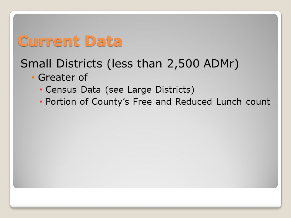 Current Data Small Districts (less than 2,500 ADMr) Greater of Census Data (see Large Districts) Portion of County's Free and Reduced Lunch count