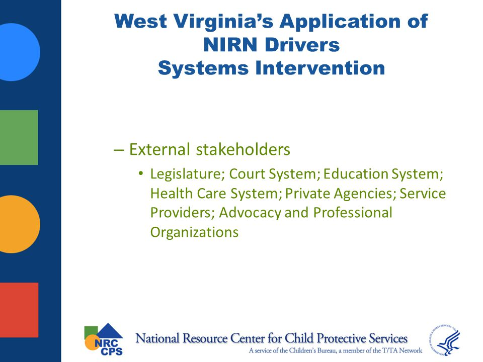 West Virginia's Application of NIRN Drivers Systems Intervention – External stakeholders Legislature; Court System; Education System; Health Care Syst