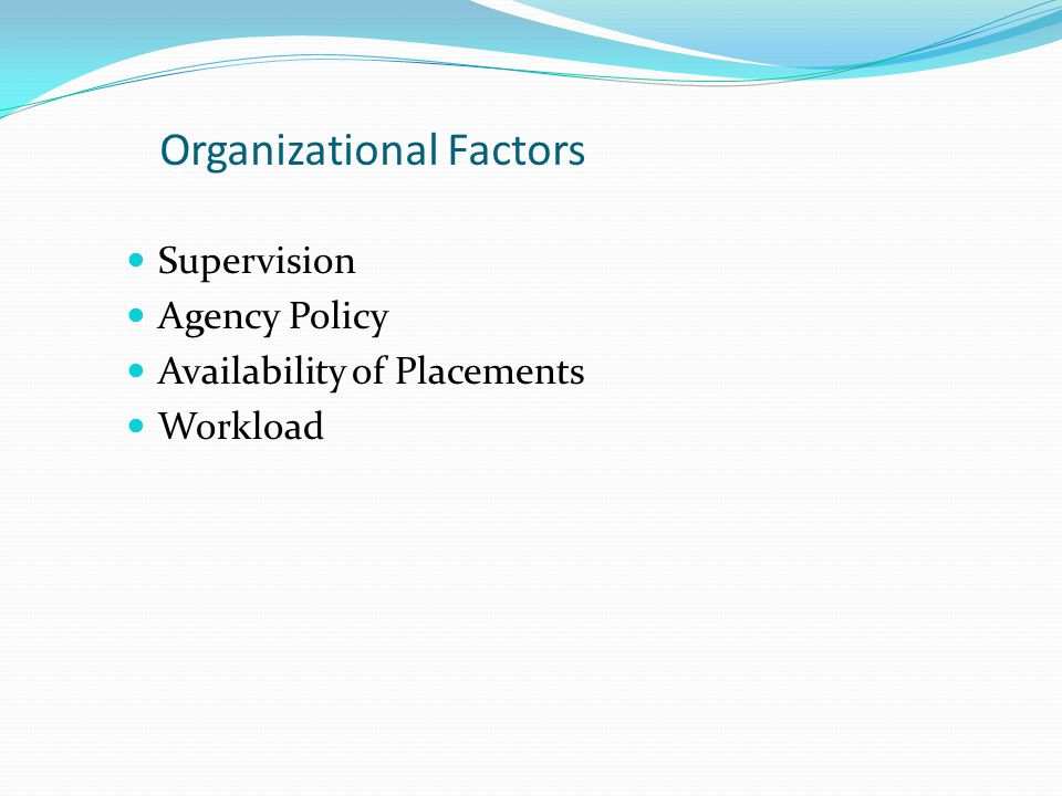 Organizational Factors Supervision Agency Policy Availability of Placements Workload