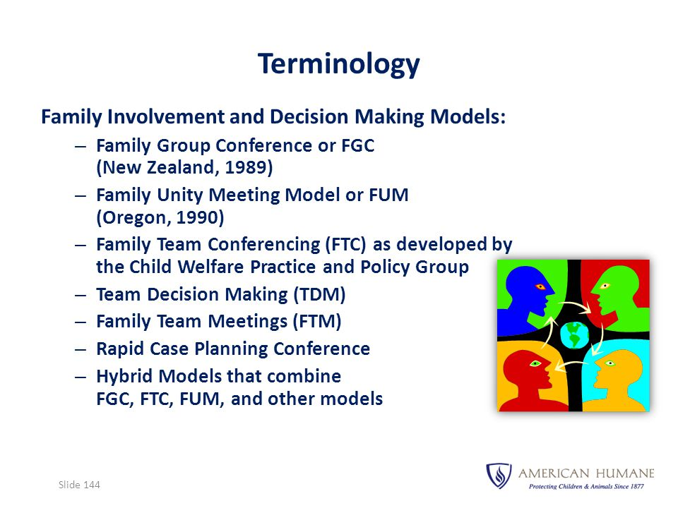 Family Involvement and Decision Making Models: – Family Group Conference or FGC (New Zealand, 1989) – Family Unity Meeting Model or FUM (Oregon, 1990)