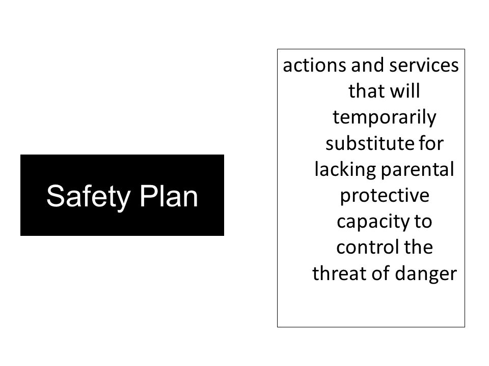 Safety Plan actions and services that will temporarily substitute for lacking parental protective capacity to control the threat of danger