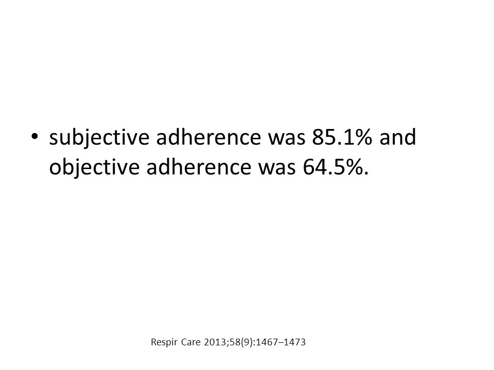 subjective adherence was 85.1% and objective adherence was 64.5%. Respir Care 2013;58(9):1467–1473