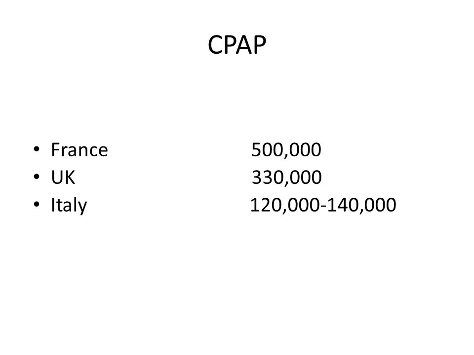 CPAP France 500,000 UK 330,000 Italy 120,000-140,000