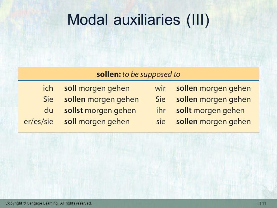 4 | 11 Copyright © Cengage Learning. All rights reserved. Modal auxiliaries (III)