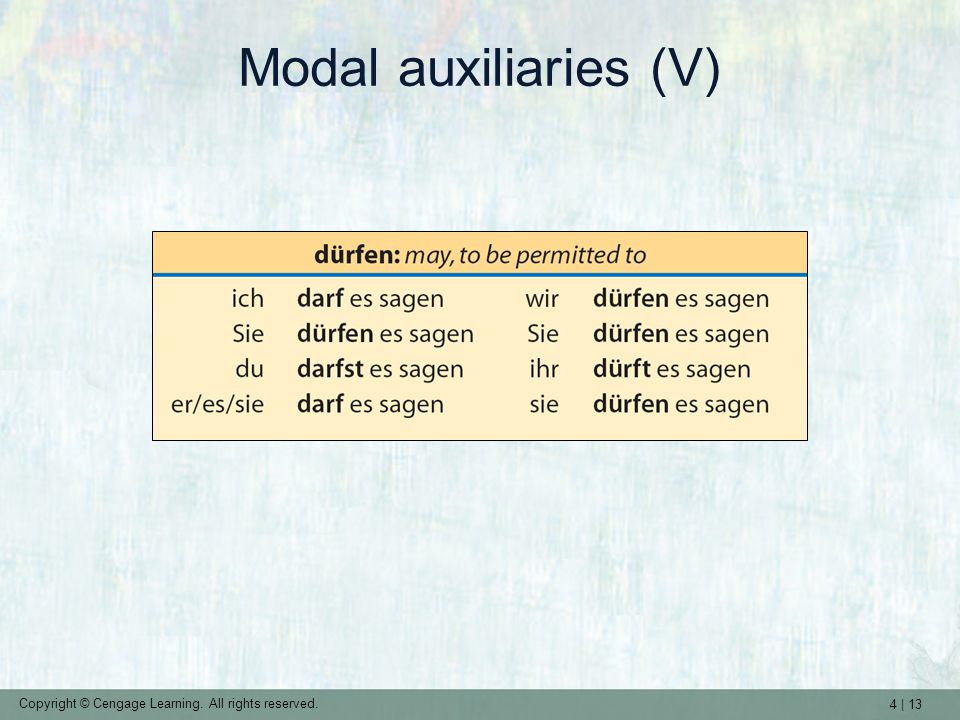 4 | 13 Copyright © Cengage Learning. All rights reserved. Modal auxiliaries (V)