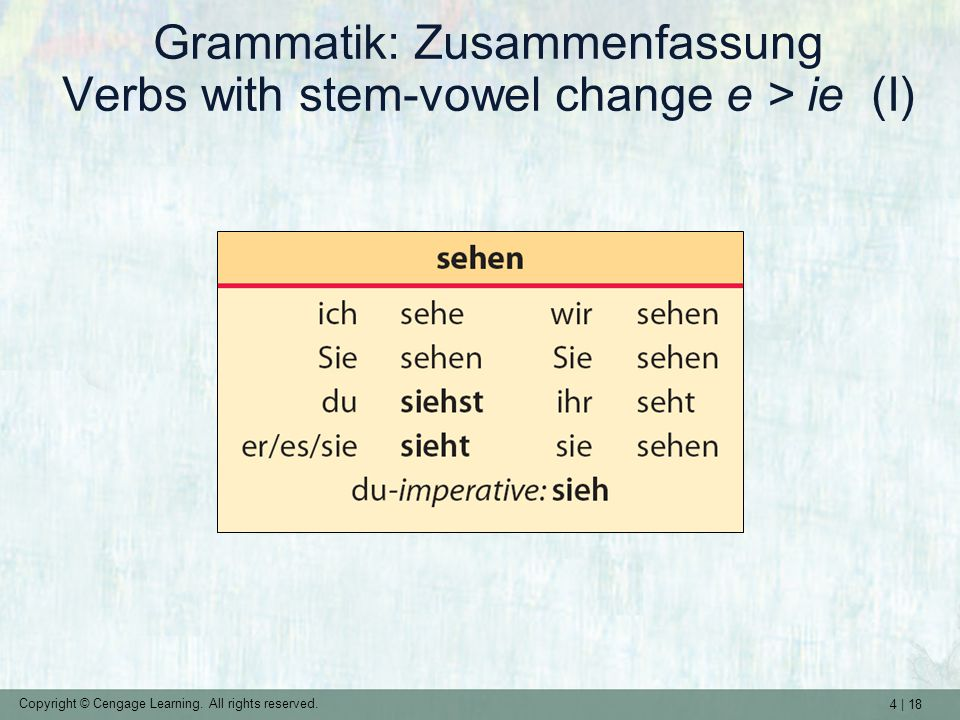 4 | 18 Copyright © Cengage Learning. All rights reserved. Grammatik: Zusammenfassung Verbs with stem-vowel change e > ie (I)