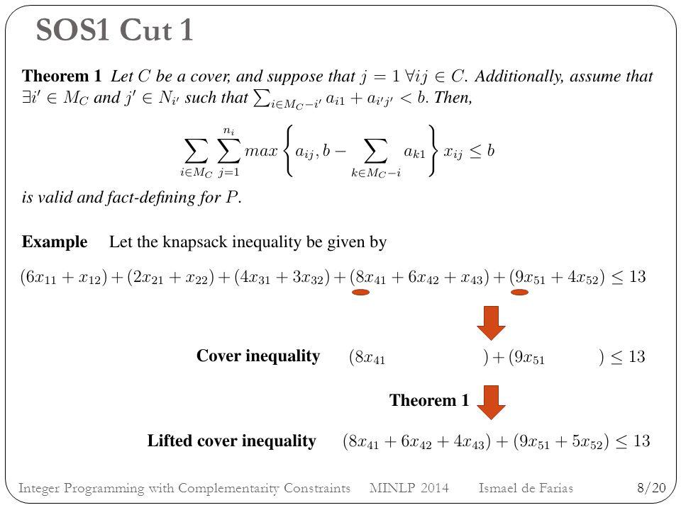 SOS1 Cut 1 8/20Integer Programming with Complementarity Constraints MINLP 2014 Ismael de Farias