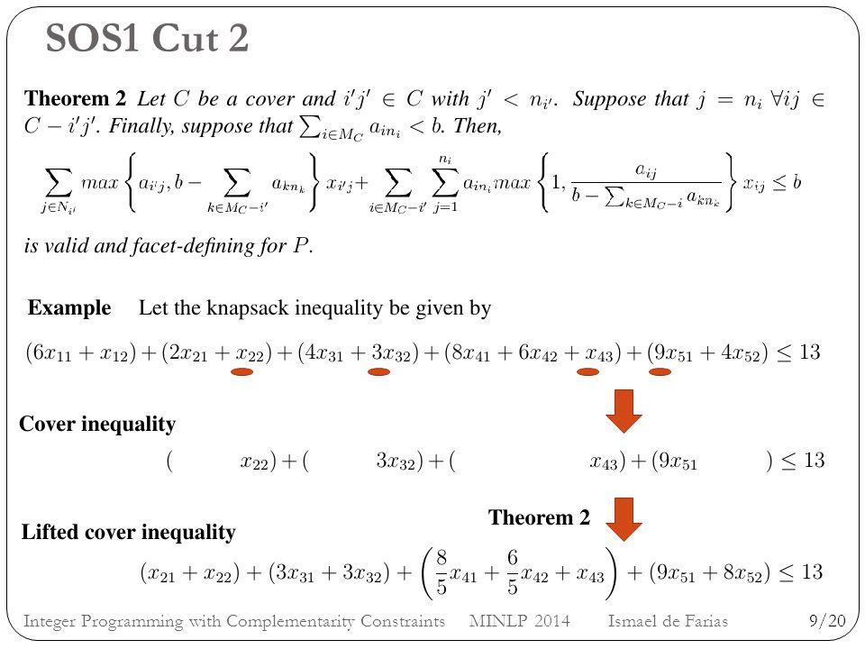SOS1 Cut 2 9/20Integer Programming with Complementarity Constraints MINLP 2014 Ismael de Farias