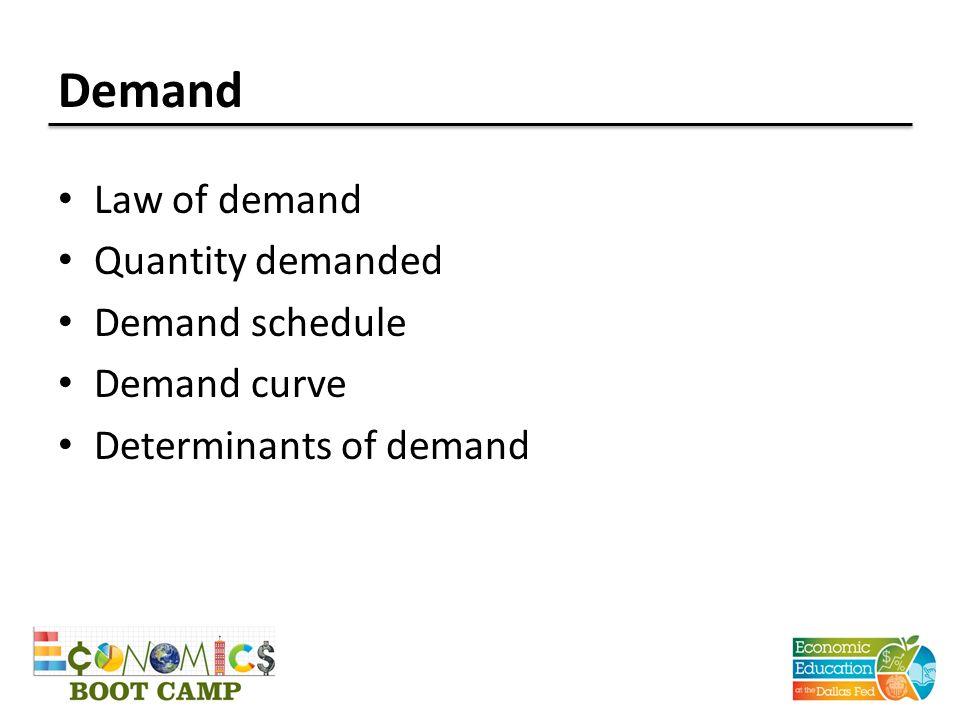 Demand Law of demand Quantity demanded Demand schedule Demand curve Determinants of demand